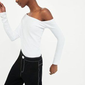 Zara *Special Edition* Asymmetric White Ribbed Top